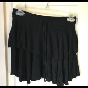 Black flowy layered miniskirt